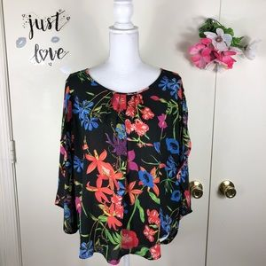 SPENSE WOMEN TOP SPLIT FLUTTER SLEEVE SCOOP SZ LG